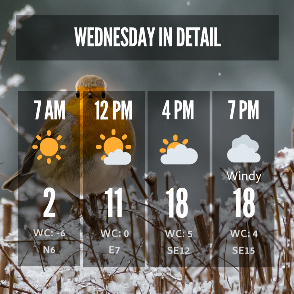 Details of the forecast for Wednesday, Jan. 8, 2020 including temp, condition, wind and wind chill.