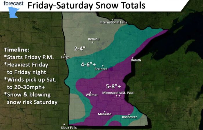 Friday 1/17/20: Snowstorm coming to Minnesota